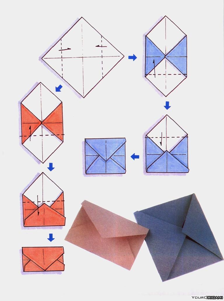 Как сделать конверт из бумаги и без клея