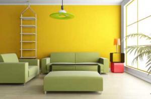 Сочетание зеленого и желтого цветов в интерьере