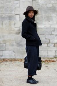 С чем носить черное пальто