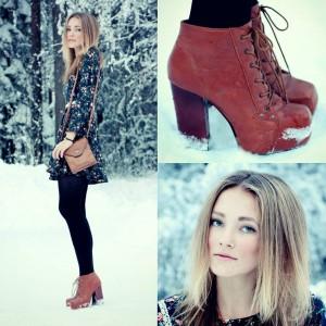 рыжие ботинки