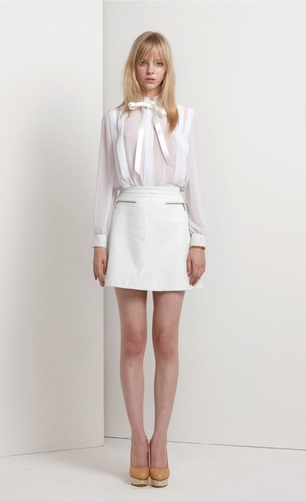 Кожаная юбка белая фото