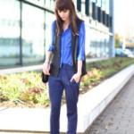 С чем носить синие брюки: обзор с фото