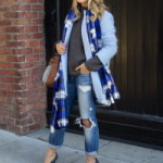 С чем носить пальто голубого цвета